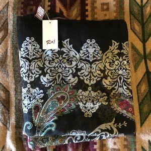 Accessories - Black Sheer Paisley Scarf/shawl